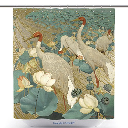 American Painting Art Demoiselle Red Crowned Crane And Lotus Bathroom Shower Curtain - Waterproof And Mildewproof Havy-Duty Polyester Fabric Bathroom Curtain Ideas (72