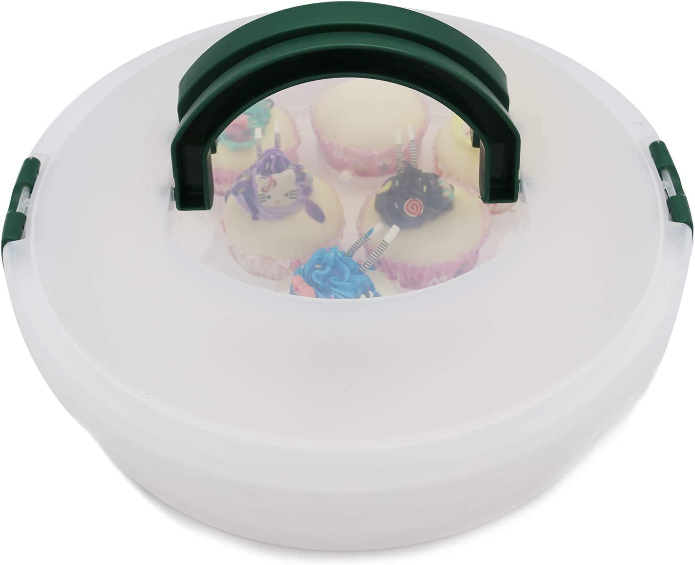 Portable Pie Cupcake Carrier with Lid and Tray 3-In-1 Round Cupcake Container Egg Holder Deviled Egg Tray Muffin Tart Cookie Food Keeper 10 Inch
