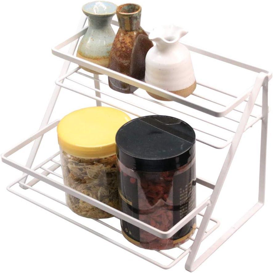 Bathroom Organizer Countertop, 2-Tier Standing Spice Rack Organizer for Cabinet Vanity Cosmetic Makeup Jars Bottle Shelf Storage White