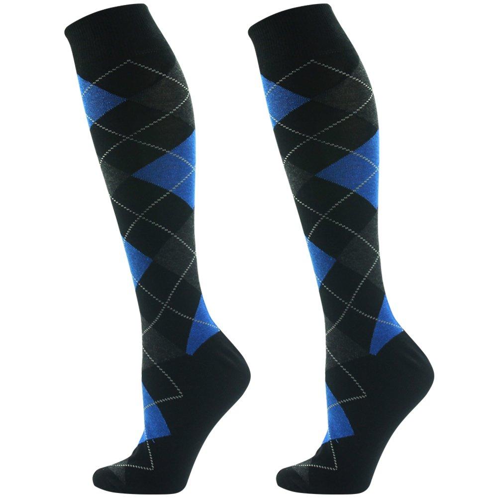 Long Casual Socks, SUTTOS Unisex Men's Women's Adult Fashion Knee High Dress Socks Blue Black Argyle Jacquard Art Design Long Tube Boot Dress Socks Business Suit Office Socks,2 Pairs