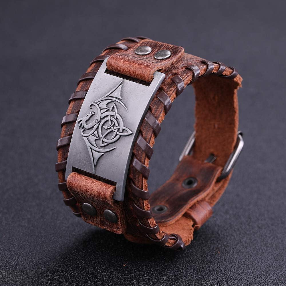 Vintage Talisman Norse Viking Celtic Knot Knot Trinity battant Dragon avec Wing Brown Bracelet pour hommes femmes