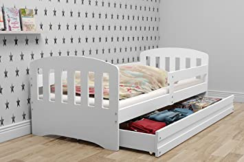 Classic Single Children S Bed 160x80 Wooden Solid Beds For Boys And Girls Free Mattress And Storage White