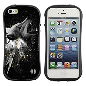 High quality Case for Apple iPhone 5 5S / Cool Abstract Wolf hjbrhga1544