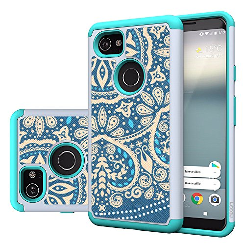 Google Pixel XL 2 Case, LEEGU [Shock Absorption] Dual Layer Heavy Duty Protective Silicone Plastic Cover Rugged Case for Google Pixel 2 XL - Blue Flower