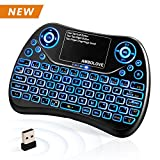 (Latest 2018, Backlit) Wireless Mini Keyboard with Touchpad Mouse and Multimedia Keys, 2.4GHZ Portable USB Rechargable Li-ion Battery Remote Keyboard Support Smart TV,PC,PAD,Android TV Box,PS4,IPTV