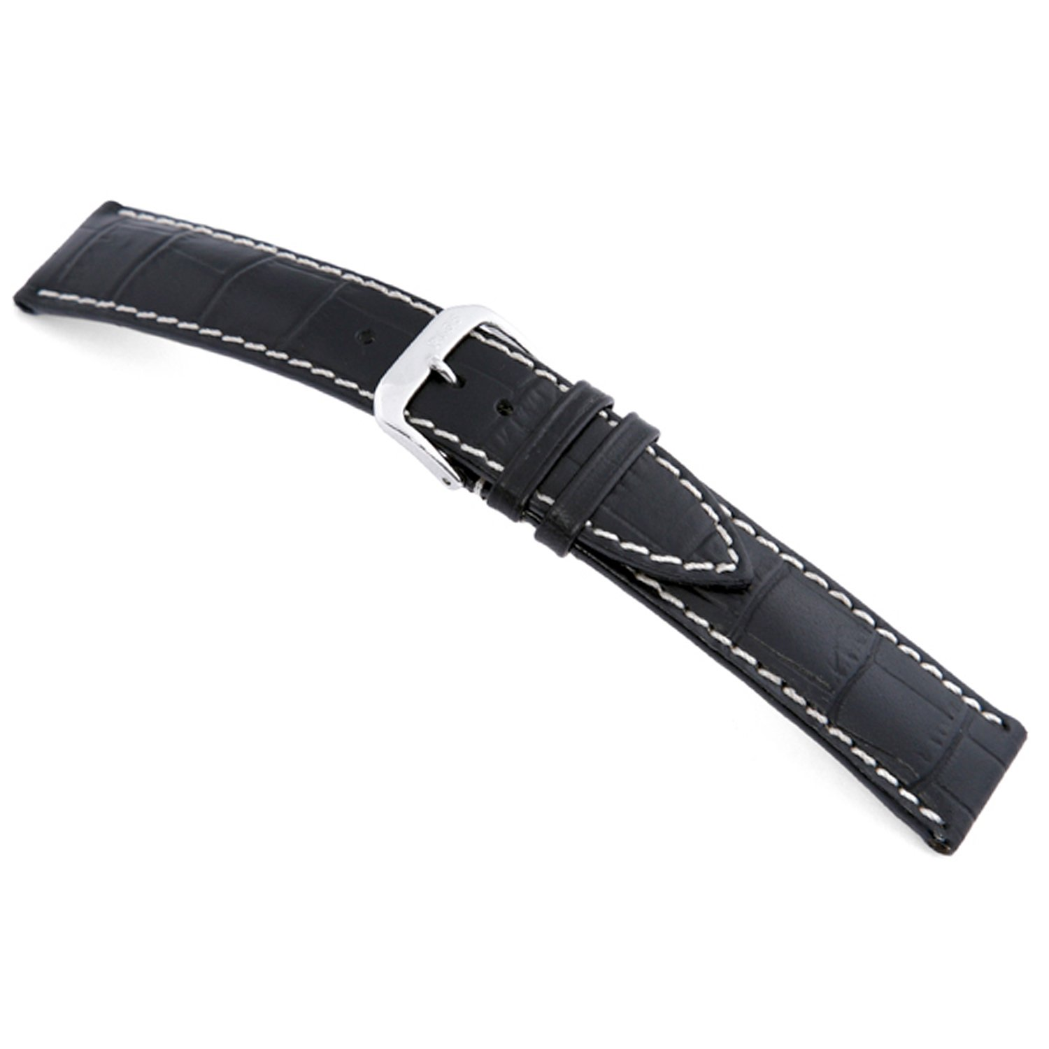 rios1931 New Orleans – 純正エンボスレザーWatch Band with Gator Print andホワイトステッチ 20mm (Standard) ブラック 20mm (Standard)|ブラック ブラック 20mm (Standard) B0748KKYVK