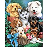 5D Diamond Painting Kits for Adults 16x20Inch Large Full Drill Animals Paint with Diamond Embroidery Crafts Sewing Cross Stitch Picture Home Wall Decoration by TOCARE,Dog Buddy Pattern