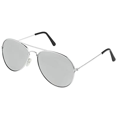 Skeleteen Silver Mirrored Aviator Sunglasses - Military Style Mirror Sun Glasses with Metal Frame and UV 400 Protection: Clothing