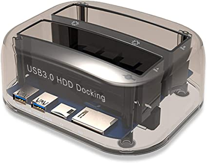 Docking Station per HDD a Doppio alloggiamento Docking Station da USB 3.0 a SSD HDD SSD con Clone per HDD SATA da 2,5e 3,5 e Docking Station per Disco Rigido