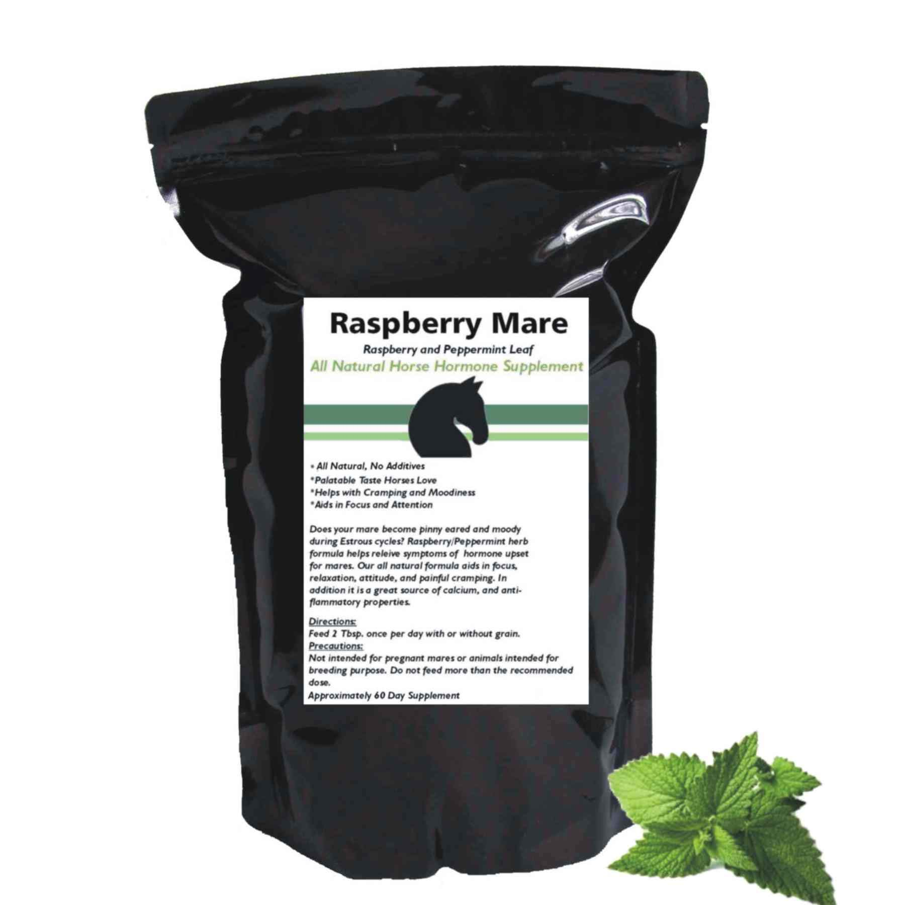 Hormone and Calming Supplement for Horses All Natural Pure Raspberry and Peppermint Leaf Herbal Blend 14 oz. by Raspberry Mare