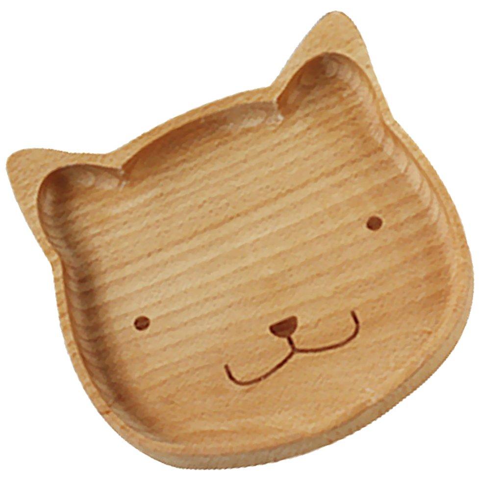 MonkeyJack Natural Handmade Wooden Kids Cat Plate Divided Dishes Animal Serving Tray - Bear
