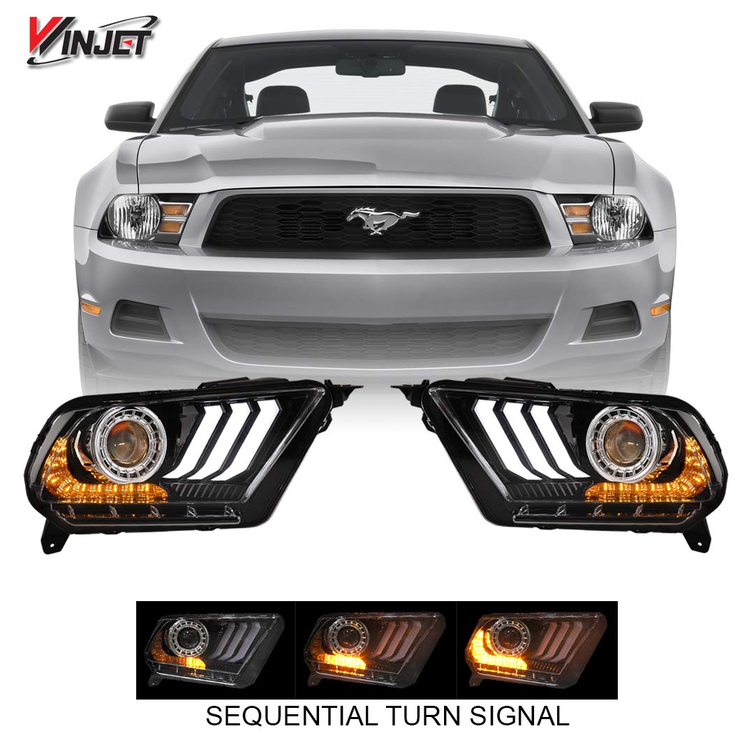 Winjet CHRNG-0612-B-SQ 2018 S550 Style Aftermarket Performance LED Glow Bar DRL Projector Headlights With Sequential Signal Clear Lens for 2010-2012 S197 Ford Mustang by Winjet