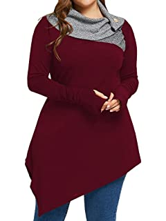 0afe97f0329 Sibylla Women s Plus Size Striped Turtleneck Thumb Hole Asymmetrical Hem Tunic  Top T Shirt Blouse