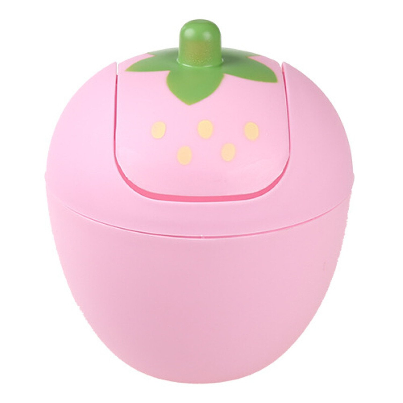 Manafun Cute Mini Waste Bins, Strawberry Desk Trash Can Roll Cover Wastebasket, Food Organizer for Office, Room, Desk, Bathroom (Pink)