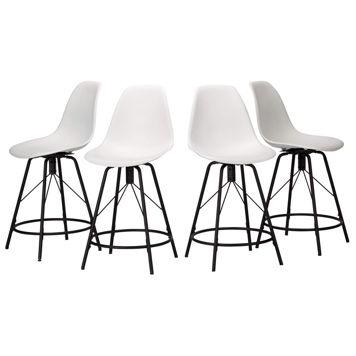 Haobo Metal Bar Stools, Counter Height Stools Plastic Seat Swivel Chairs Set of 4 for Indoor, Outdoor, Home, Kitchen Dinning Chairs, Bar Counter, Business 24 , 06 Swivel White