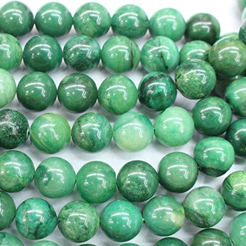 Round Gemstone Jade (Fashiontrenda Natural Color Green Jade Round Gemstones Loose Beads Findings DIY Jewerlry Making (8mm))