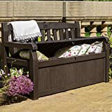 Espresso Brown Weather Resistant UV Protected Resin Yard Garden Deck Home Storage Bench Box With Seating For Two- Extra Large Storage Bin 70 Gallon Capacity Bin- Perfect For All Indoor Outdoor Gear