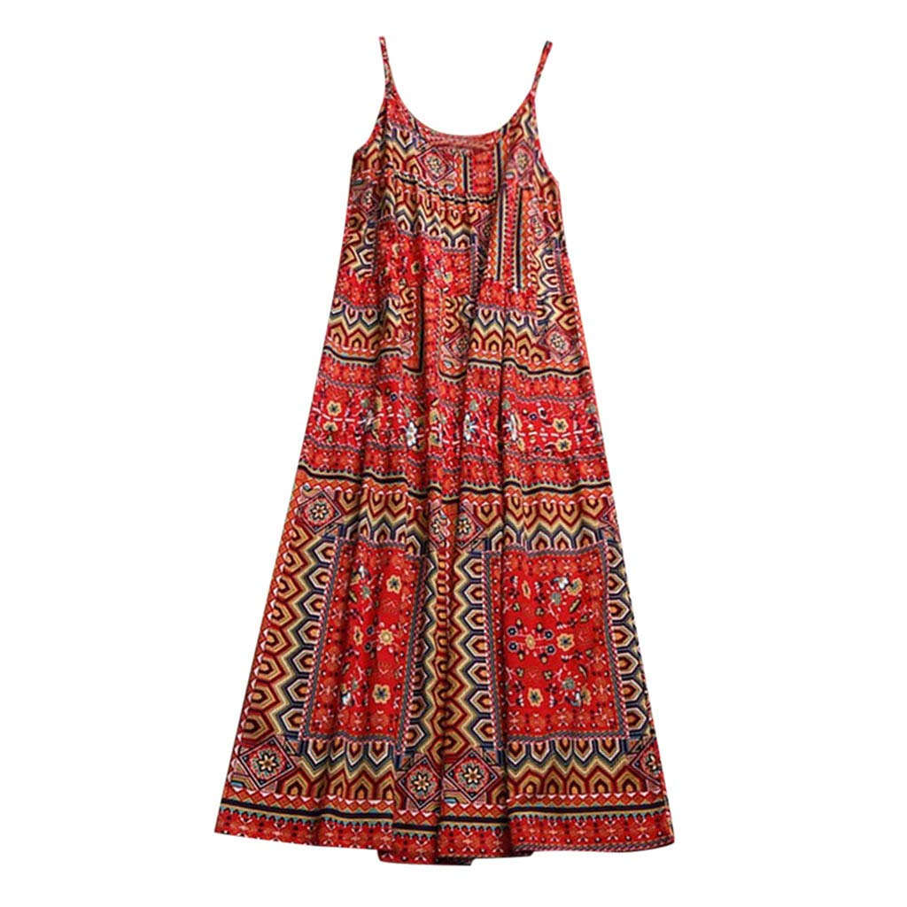 aaab9aef794 Maokiki Women Latest Low Prise Casual Long Maxi Sundress Beach Party Boho  Floral Print Dress  Amazon.in  Clothing   Accessories