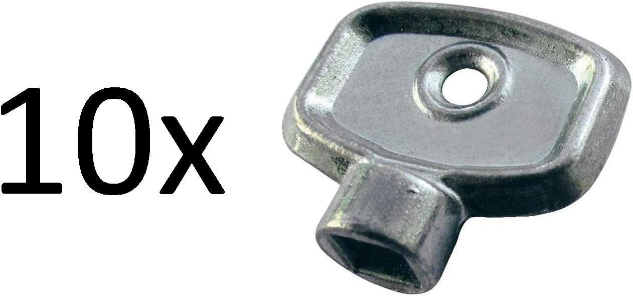 Válvula de purga de radiador, llave de calefacción, rejilla de ventilación, herramienta cuadrada para válvulas de purga de aire, paquete de 10