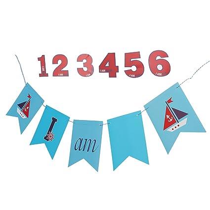 LUOEM Náutico Velero Banner Cumpleaños Swallowtail Flag ...