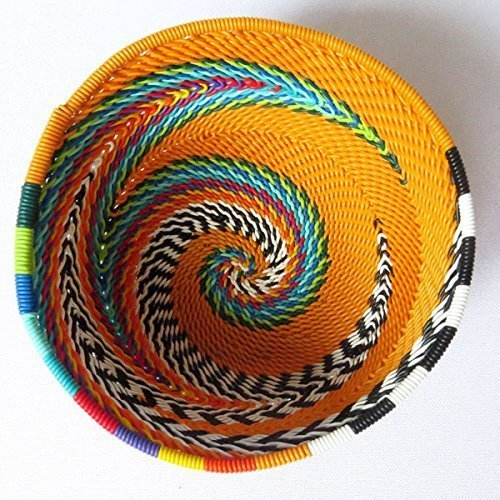 African Zulu woven telephone wire bowl – Extra small round – Rust and multicolour