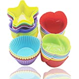 Silicone Cupcake Moulds, Blufied 24 Pack Reusable Nonstick Baking Cases Muffin Moulds for Cakes Ice Creams Puddings Jelly, 4 Shape Rainbow Colors