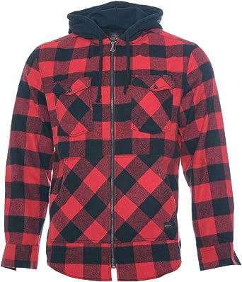 ROCK-IT Apparel® Camisa de Franela de Manga Larga de Hombre a Cuadros con Capucha Camisa de leñador Camisa de Cuadros Camisa Casual Premium Camisa Tallas S-5XL Hechas en Europa Negro/Rojo 3XL: Amazon.es: