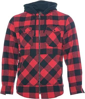 ROCK-IT Apparel® Camisa de Franela de Manga Larga de Hombre a Cuadros con Capucha Camisa de leñador Camisa de Cuadros Camisa Casual Premium Camisa ...