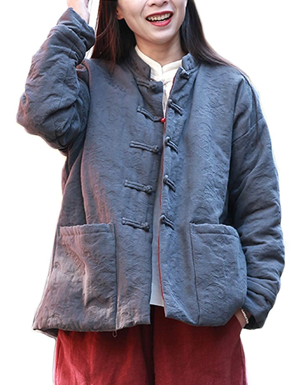 Women Pirate Chinese Tang Lightweight Gray Cotton Linen Quilted Lined Jacket - DeluxeAdultCostumes.com