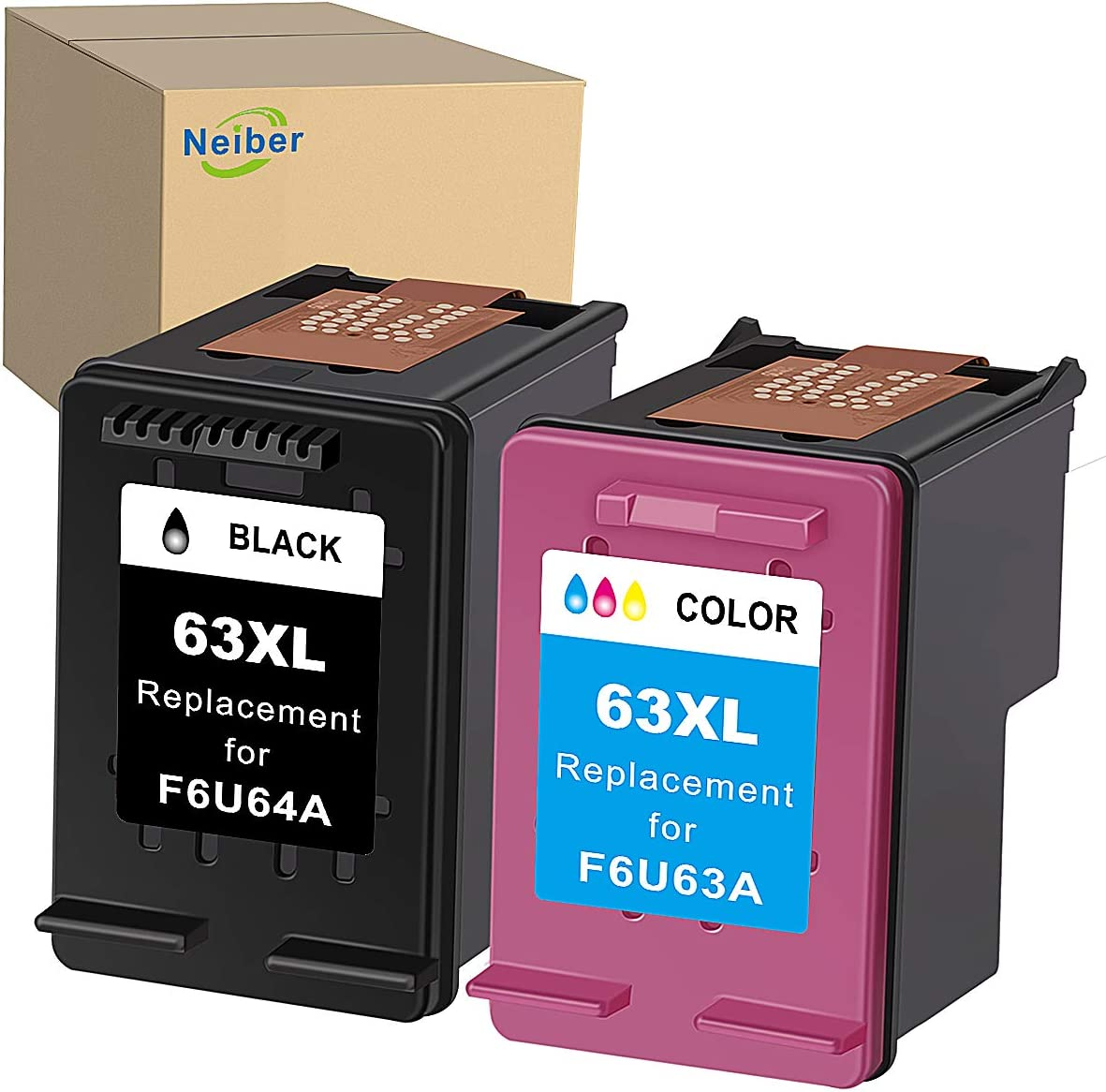 Neiber Remanufactured Ink Cartridge Replacement for HP 63XL 63 XL (Black Tri-Color 2-Pack) Work with Envy 4520 OfficeJet 3830 5252 4650 5258 4655 4652 DeskJet 3636 1111 3630 1112 3637 3632 Printer