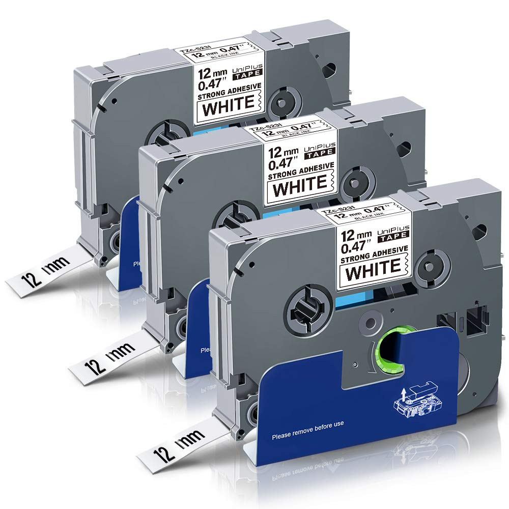 3 Pz UniPlus Compatibile Tze Flessibile Nastro Compatibile per Brother Tze-Fx231 TzeFx231 Laminato Nastro per Etichette Flessibile per Brother P-Touch H101C H110 H105 P750W,12mm x 8m Nero su Bianco