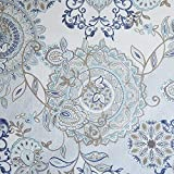 Madison Park Isla 100% Cotton Percale Floral Medallion Boho Printed Watercolor Cute Bathroom Shower Curtain, 72X72'' Inches, Blue