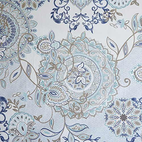 (Madison Park Isla 100% Cotton Percale Floral Medallion Boho Printed Watercolor Cute Bathroom Shower Curtain, 72X72