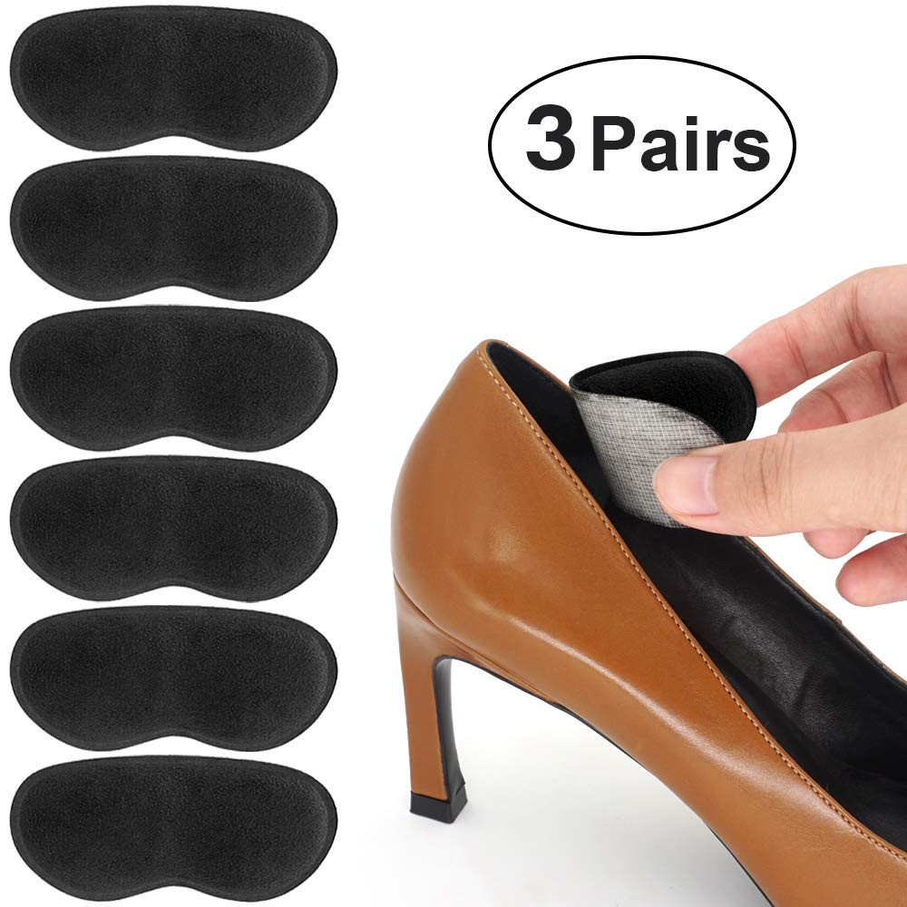 Dr. Foot's Heel Grips for Ladies Shoes, Shoes Too Big, Back Inserts Protect from rubbing and Slipping for Men and Women (Black)