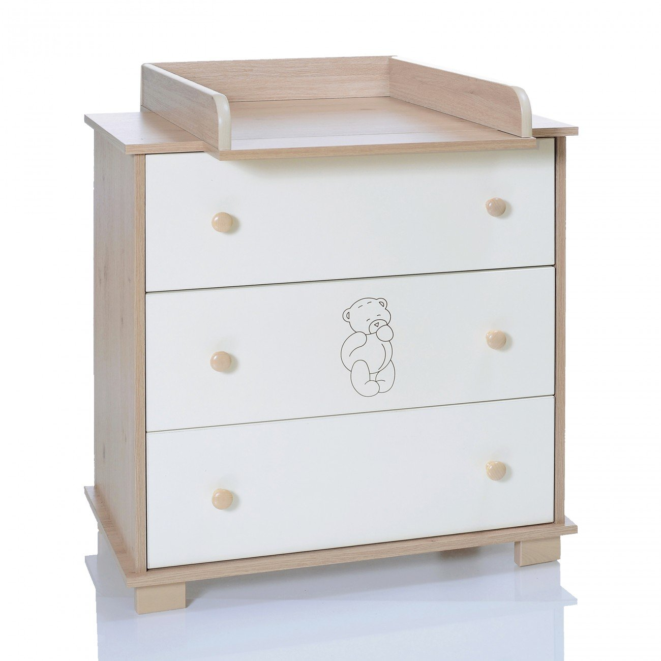 Baby Changing Chest Bear - Nursery Furniture Changer Unit With 3 Drawers - Baby Changing Table removeable LCP Kids 69