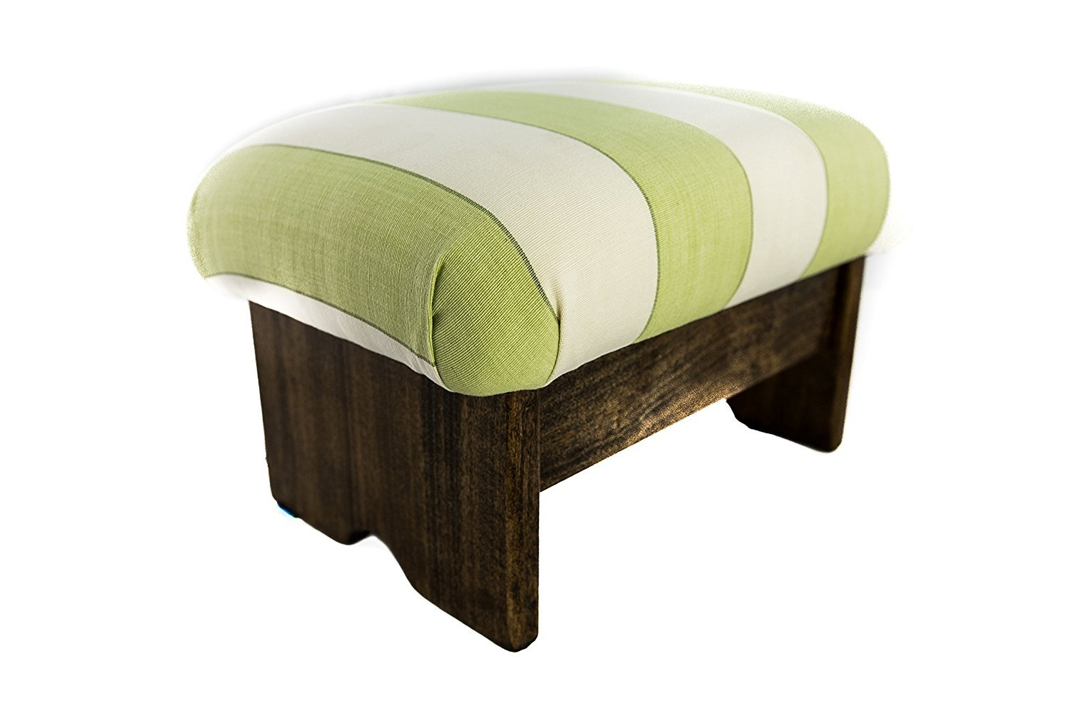 KR Ideas Padded Foot Stool Stripe Pesto (Made In the USA) (9'' Tall - Walnut Stain) by KR Ideas