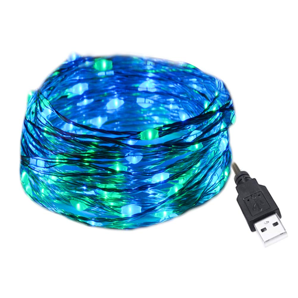 HAHOME Starry 100 LEDs 33 feet USB String Lights with Power Adapter Blue Green