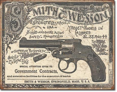 "TSFD ART/ARTWORK - Licensed Collectibles - HUNTING - GUNS & AMMO - SHOOTING [35422014] -""SMITH & WESSON - 1892 Government Contracts - Artwork/Sign Is Paint On Metal"