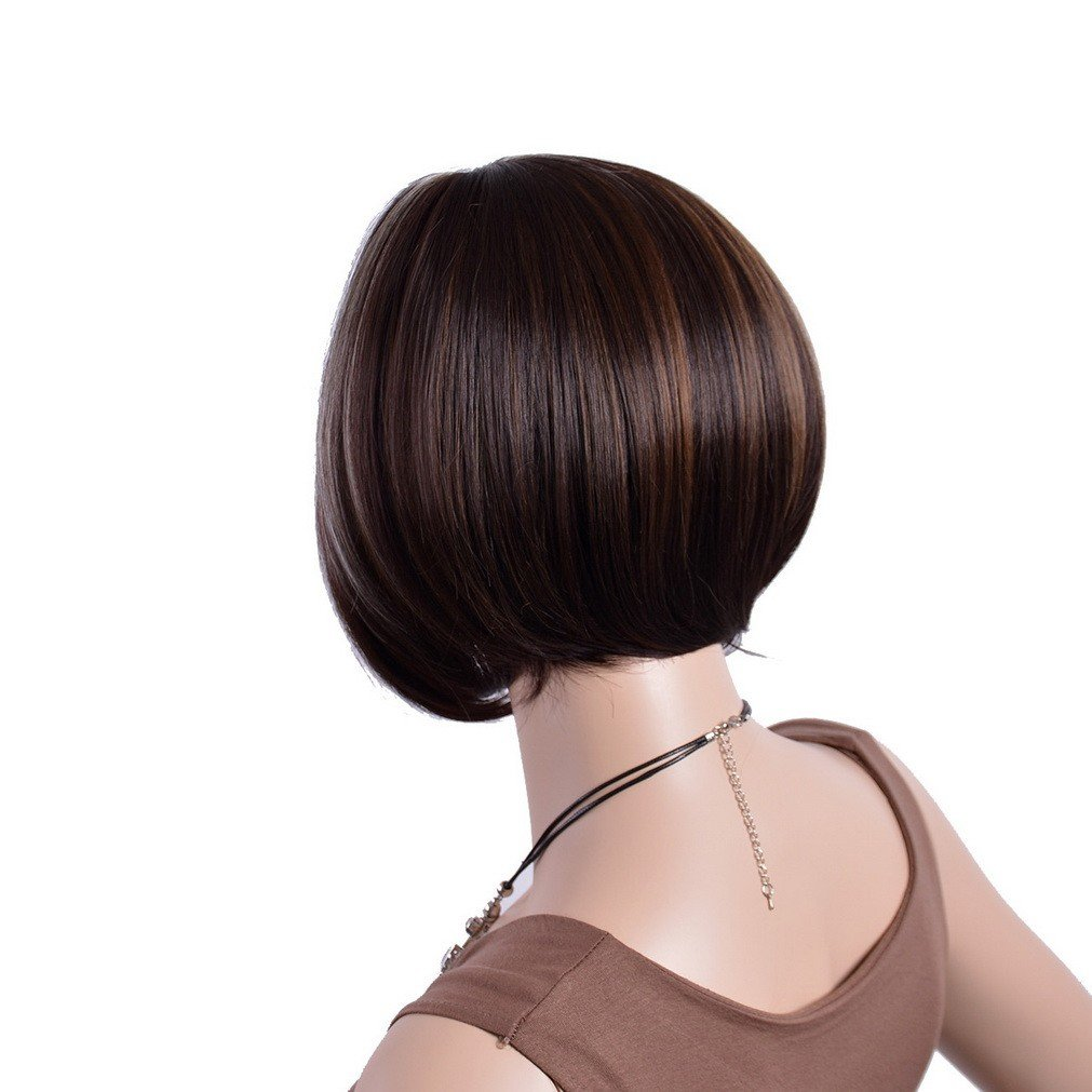 A.Monamour Women's Black Silver Brown Mix Highlights Natural Straight Short Bob Inclined Fringes Thick Hair Full Wig by A.Monamour (Image #3)