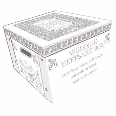 White Wedding Keepsake Box A Lifetime Of Memories Large Collapsible Storage Box