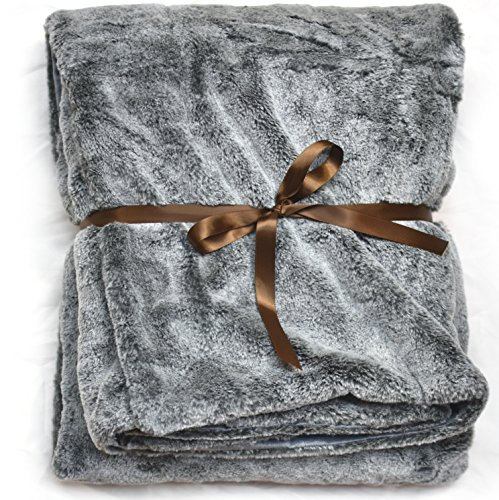 Lynx Throw - Lynx Faux Fur Throw Silky Soft Blanket with Plush Velvet Backing (Rabbit Rex)