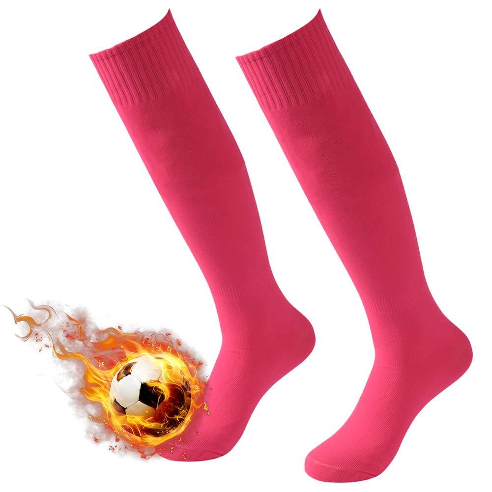 3street 着圧靴下 ハイソックス 無地 チューブタイプ スポーツ サッカー 男女兼用 2/6/10足組 B079ZZB178 2 Pairs Hot Pink  2 Pairs Hot Pink