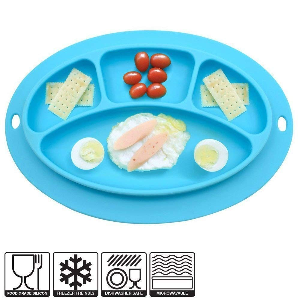 INCHANT Baby One-piece Silicone Placemat, Highchair Feeding Tray Plate For Kitchen Dining Table, Dishwasher & Microwave Safe, FDA Approved, BPA Free Toddler Plates Ecreate M024B-c