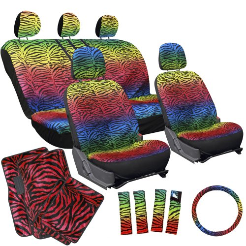 red and zebra car seat covers - 9