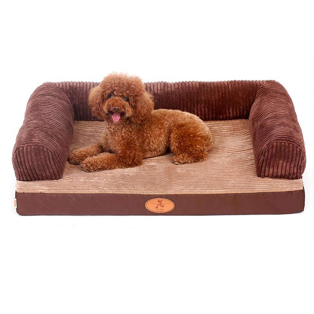 C L C L Dog Bed Cat Bed Pet Bed Fully Detachable and Washable Kennel Cat Mat Large Dog Brown (color   C, Size   L)