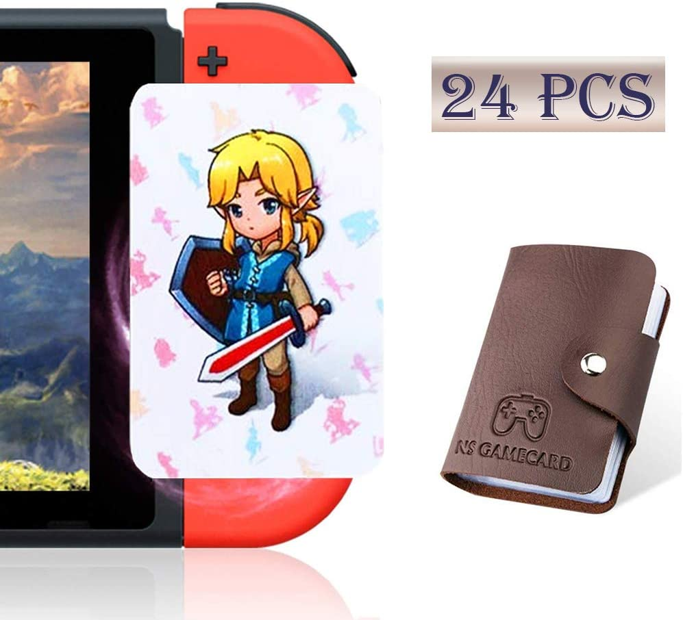 [Newest Standard Version] 24 Pcs with Zelda Link's Awakening Botw NFC Cards for The Legend of Zelda Breath of The Wild Switch/Wii U- 24 Pcs (Not Official Amiibo) with Card Holder: Home Audio & Theater