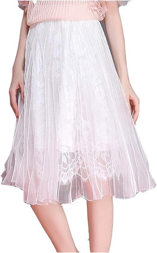 Faldas de Las Mujeres, Falda de Mujer Falda de Encaje y Malla A ...