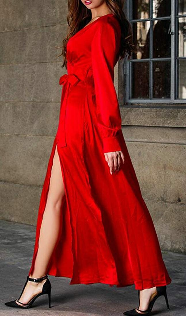 C/&H Womens V Neck Swing Split Bohemian Long-Sleeve Flowy Maxi Dress