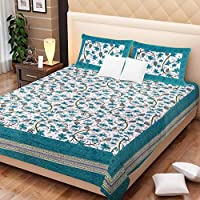 SonaFashionS Cotton Rajasthani Village Print Jaipuri Traditional 1 Double Bedsheets with 2 Pillow Covers,King Size,Multi-Coloured