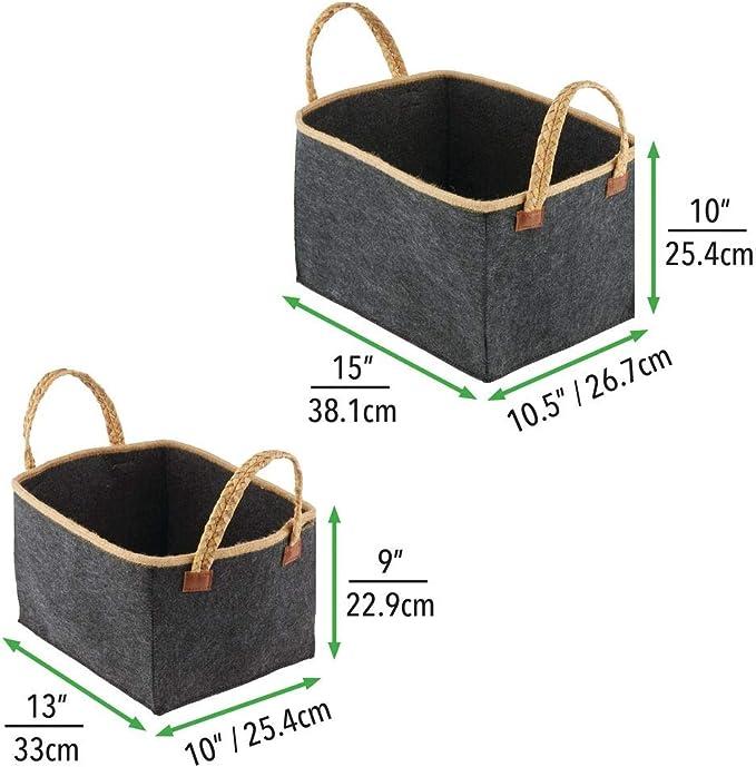 Cesto de Fieltro en 2 tama/ños Bolsa Plegable Flexible para Almacenamiento le/ña con Asas de Transporte en Gris Navaris Juego 2X Cesta de Fieltro
